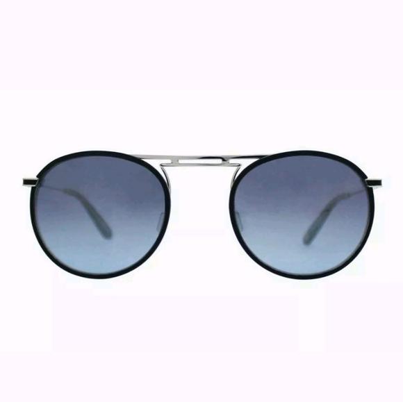 New Authentic GARRETT LEIGHT Cordova Navy Leather//Silver//Denim Mirror 50mm